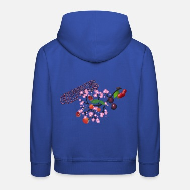 Cherry Cherries. Cherries with cherry blossoms. - Kids' Premium Hoodie
