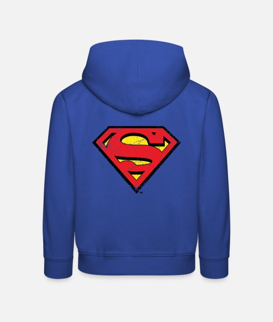 Movie Tröjor & hoodies - Superman S-Shield Logo vintage - Premium hoodie barn kungsblå