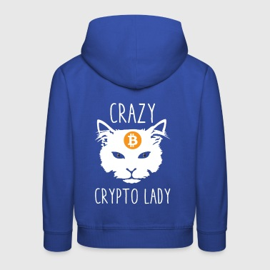 Crazy Crypto Lady Cat With Bitcoin Ethereum - Kids' Premium Hoodie