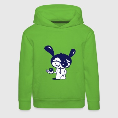 A little Emo nerd with glasses and a skull in his hand - Kids' Premium Hoodie