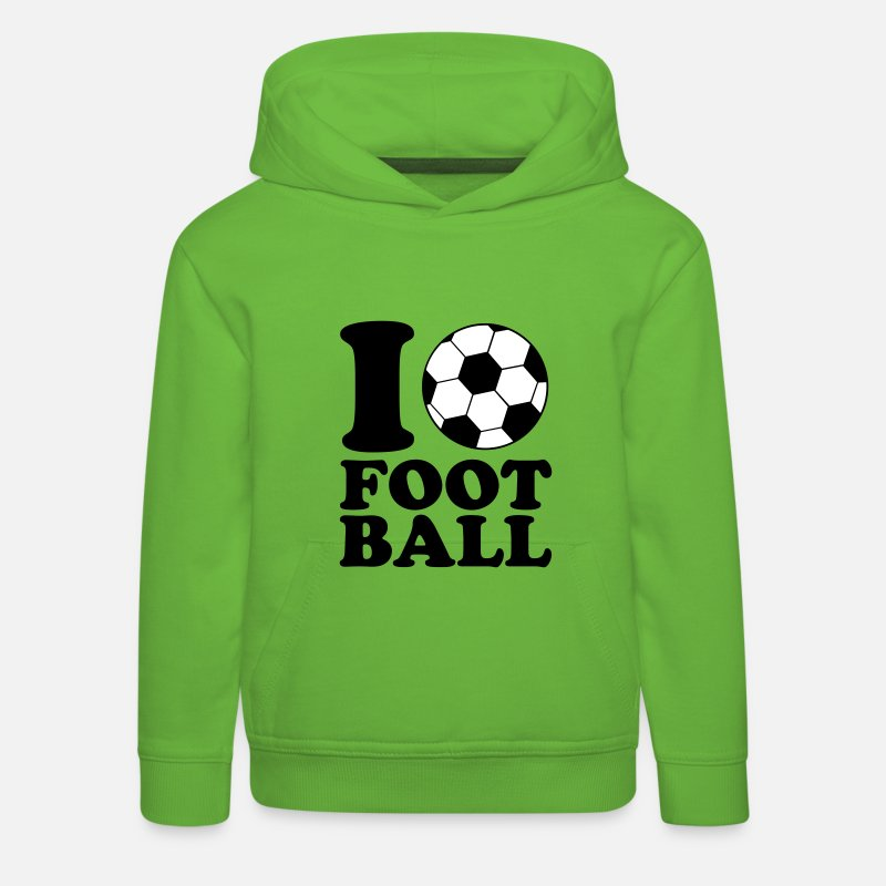 Ball Hoodies & Sweatshirts - I Love Football - Kids' Premium Hoodie light green