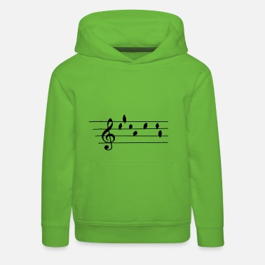 Music Note Music - Treble Clef - birds as notes   - Kids' Premium Hoodie