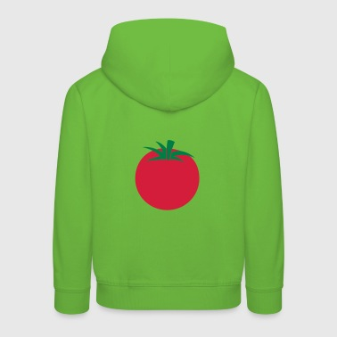 a single tomato with green leaves - Kids' Premium Hoodie