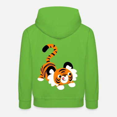 Cute Cartoon Tiger Ready To Pounce!! by Cheerful Madness!! - Kids' Premium Hoodie