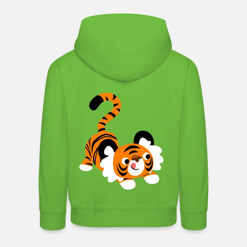 Pounce Hoodies & Sweatshirts - Cute Cartoon Tiger Ready To Pounce!! by Cheerful Madness!! - Kids' Premium Hoodie light green