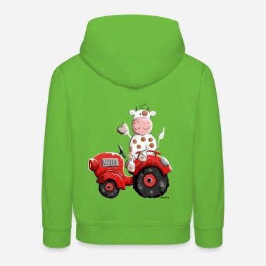 Farm Cow drives a tractor - Kids' Premium Hoodie