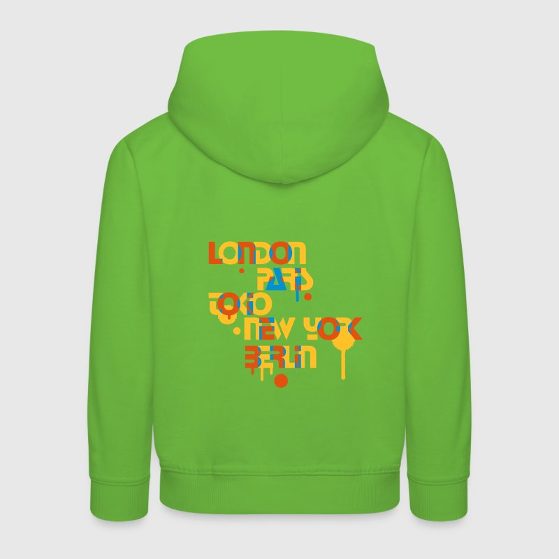 five cities, London, Paris, Tokyo, New York, Berlin, - Kids' Premium Hoodie
