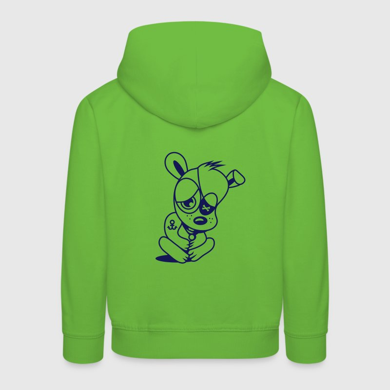 Small dog as a pirate with eye patch and anchor tattoo - Sudadera con capucha premium niño