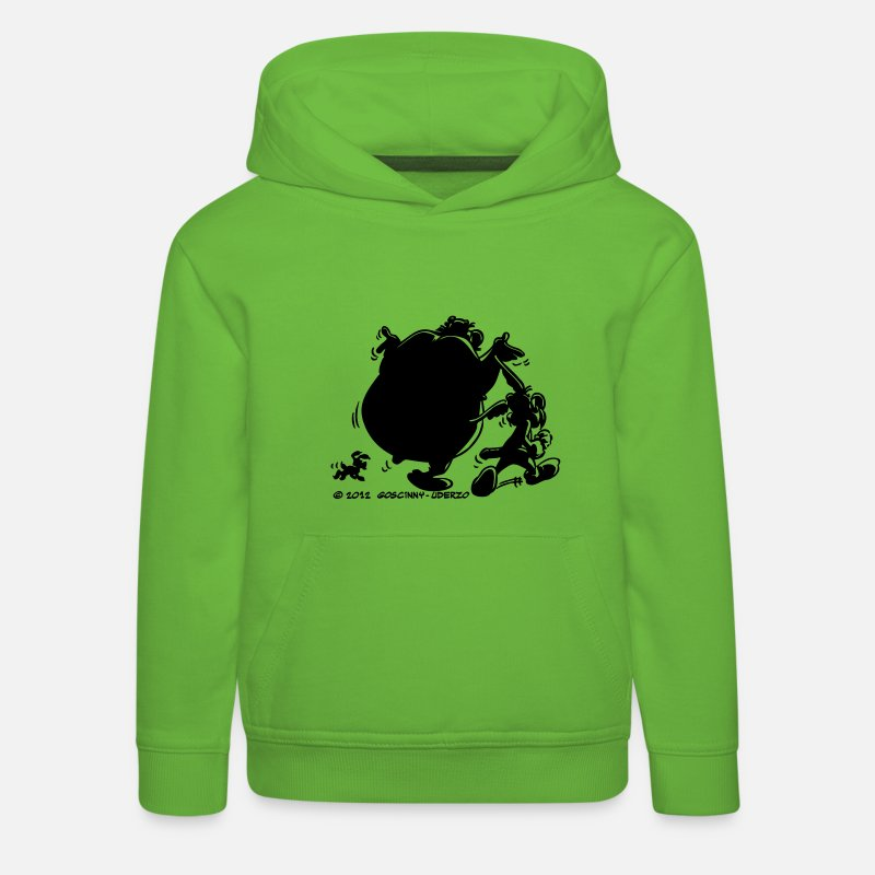 Officialbrands Sweat-shirts - Asterix & Obelix avec Idefix ombre Sweat-shirt  - Sweat à capuche premium Enfant vert clair