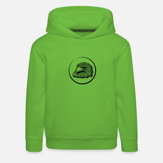 Fly Hoodies & Sweatshirts - Eagle bird of prey bird button - Kids' Premium Hoodie light green