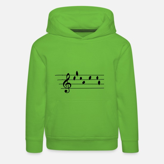Music Hoodies & Sweatshirts - Music - Treble Clef - birds as notes   - Kids' Premium Hoodie light green