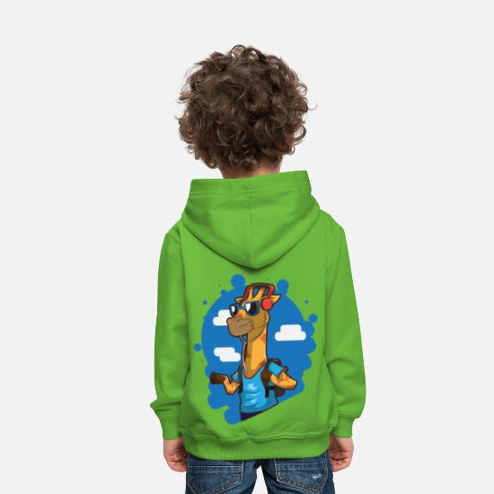 Surfer Sweat-shirts - girafe - Sweat à capuche premium Enfant vert clair