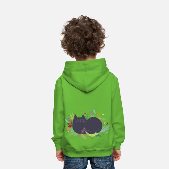 Cats And Dogs Collection Sweaters & hoodies - Kat in de Flower Garden - Kinderen premium hoodie lichtgroen