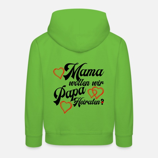 Engagement Hoodies & Sweatshirts - Mom do we want to marry daddy? proposal of marriage - Kids' Premium Hoodie light green