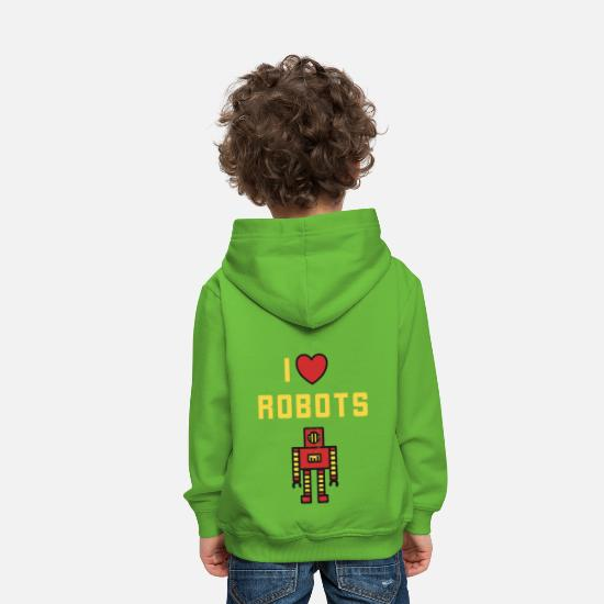 Love Hoodies & Sweatshirts - I Love Robots - Retro Robot Vintage Toys - Kids' Premium Hoodie light green