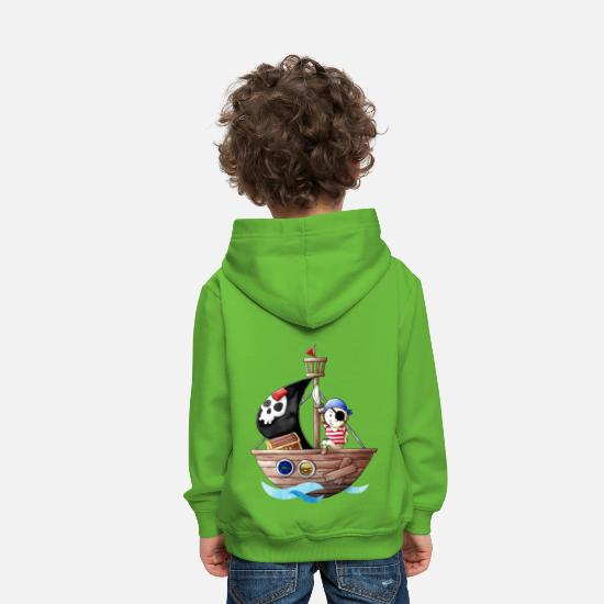 For Kids Hoodies & Sweatshirts - Little pirate with his ship - Kids' Premium Hoodie light green