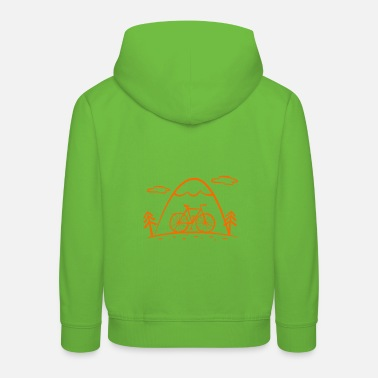 Fashion Cartoon bike tour with mountains and forest - Kids' Premium Hoodie