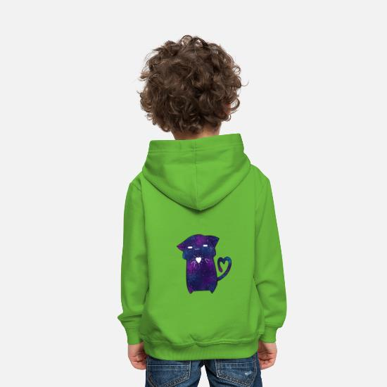 Chaton Sweat-shirts - Chat galaxie - Sweat à capuche premium Enfant vert clair
