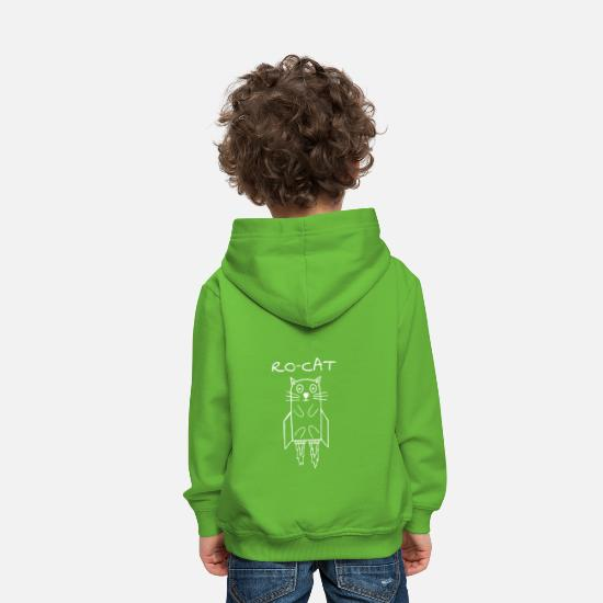 Chaton Sweat-shirts - RO-CAT - Fusee-chat a fusée - Sweat à capuche premium Enfant vert clair