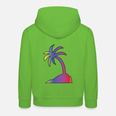 Colored palm - bright tropical island colors - Kids' Premium Hoodie