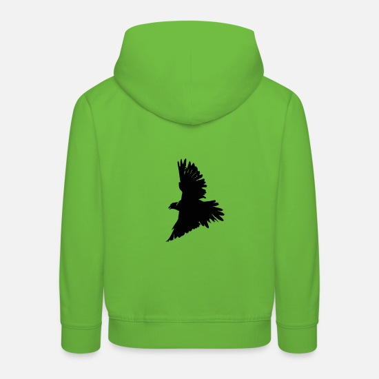 Wing Hoodies & Sweatshirts - Falcon bird of prey black graphic - Kids' Premium Hoodie light green