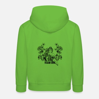 Vegan Diva - lady with flowers - Kids' Premium Hoodie