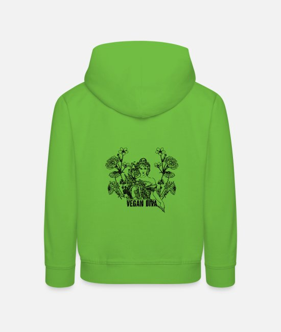 Animal Welfare Hoodies & Sweatshirts - Vegan Diva - lady with flowers - Kids' Premium Hoodie light green