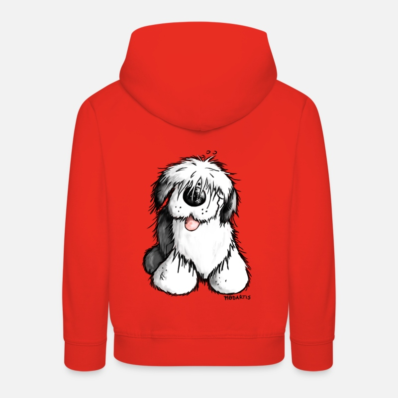 Dessin Animé Sweat-shirts - Bobtail Chien- Old English Sheepdog - Sweat à capuche premium Enfant rouge