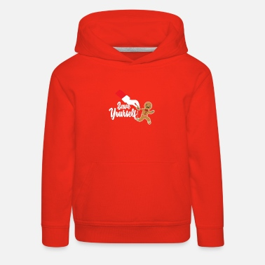 Gingerbread Heart Christmas Gingerbread Man Save Yourself - Kids' Premium Hoodie