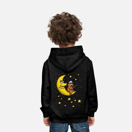 Grizzly Hoodies & Sweatshirts - Good night, star Moon Angel Bear - Kids' Premium Hoodie charcoal grey