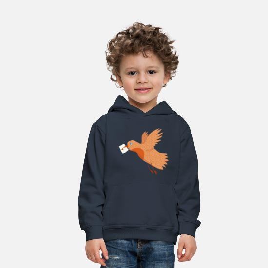 Love Collection Sweaters & hoodies - Bird with letter in beak. - Kinderen premium hoodie navy