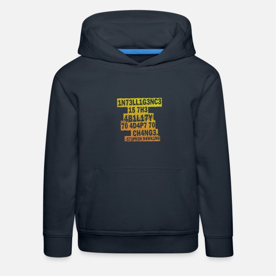 Geek Hoodies & Sweatshirts - Stephen Hawking - Intelligence - Kids' Premium Hoodie navy