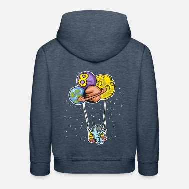 Astronaut with planet balloons - 8th birthday - Kids' Premium Hoodie