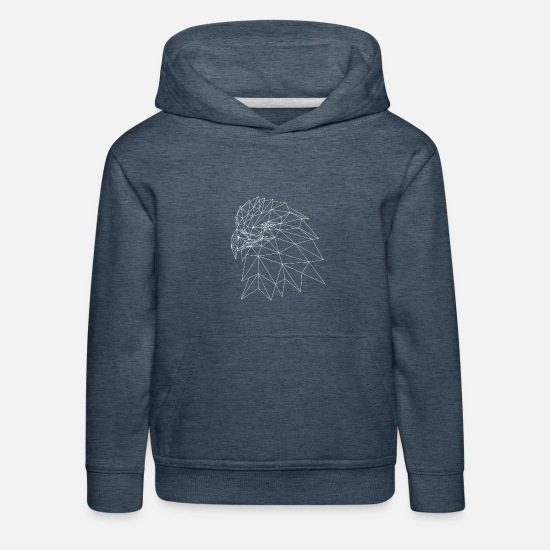 Strong Hoodies & Sweatshirts - Geometric eagle head - Kids' Premium Hoodie heather denim