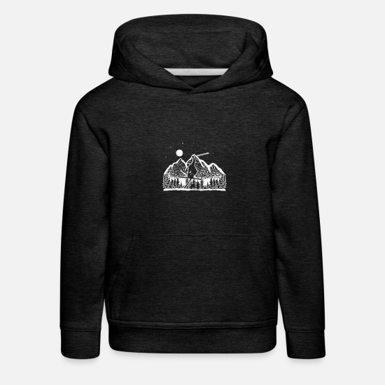 Birthday Hoodies & Sweatshirts - Skier vector gift - Kids' Premium Hoodie charcoal grey