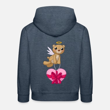 Heart Wings Ribbon Comic Valentine Teddy Bear - Kids' Premium Hoodie