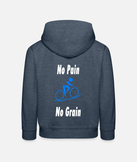 Cyclist Hoodies & Sweatshirts - No Pain No Grain - Kids' Premium Hoodie heather denim