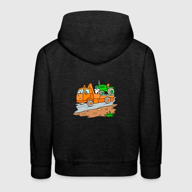 Tow truck with tractor for children - Kids' Premium Hoodie