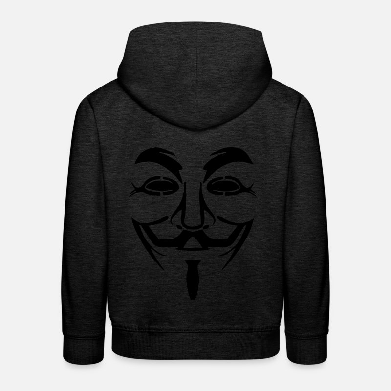 Anonymous Hoodies & Sweatshirts - V like Vendetta - Anonymous! Gift idea - Kids' Premium Hoodie charcoal grey
