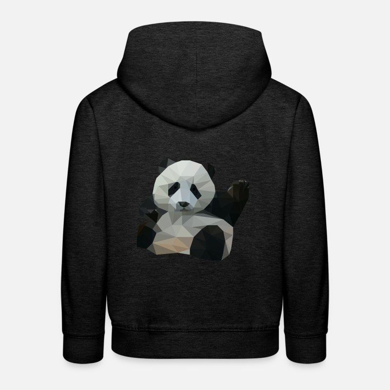 Panda Hoodies & Sweatshirts - polygon Panda - Kids' Premium Hoodie charcoal grey