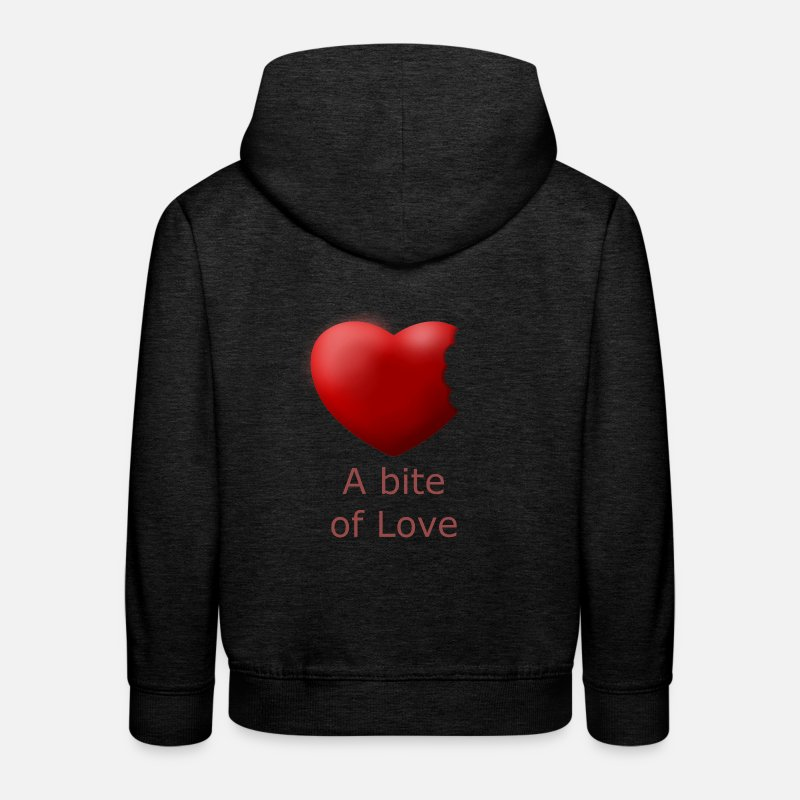 S'aimer Sweat-shirts - Coeur. Bite amour. Belle conception et fraîche - Sweat à capuche premium Enfant charbon
