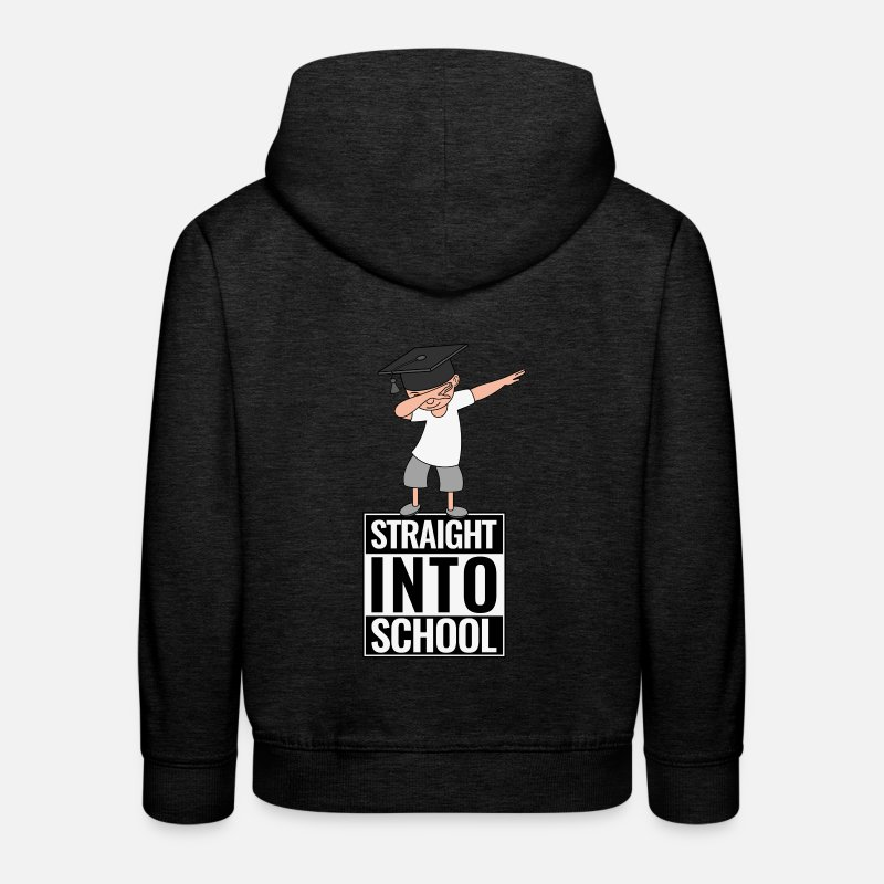 First Day Of School Hoodies & Sweatshirts - Back to school Straight Into School DAB Dabbing Boy - Kids' Premium Hoodie charcoal grey