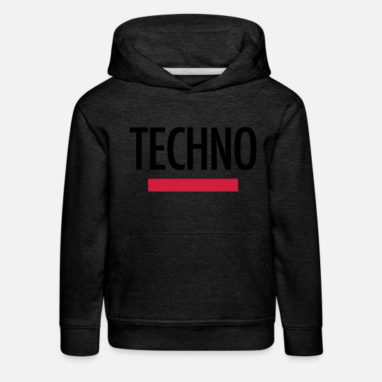 Gift Idea Hoodies & Sweatshirts - Techno Logo Festival Shirt Gifts - Kids' Premium Hoodie charcoal grey
