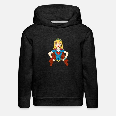Super DC Super Hero Girls Supergirl Typografie - Kinder Premium Hoodie