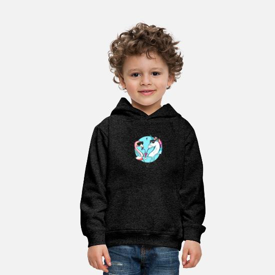 Memphis Hoodies & Sweatshirts - Cool flamingo and unicorn - Kids' Premium Hoodie charcoal grey
