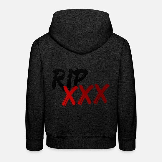 Xxxtentacion Hoodies & Sweatshirts - RIP XXXTENTACION Black / Red - Kids' Premium Hoodie charcoal grey