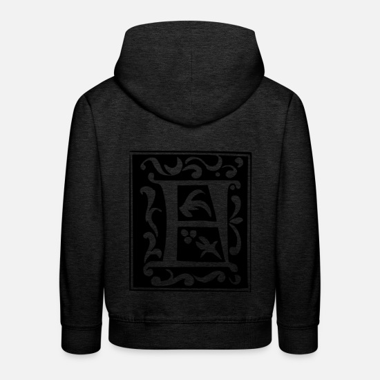 Art Hoodies & Sweatshirts - Letter F in abstract form - Kids' Premium Hoodie charcoal grey