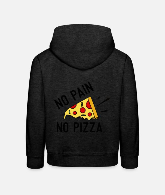 Birthday Hoodies & Sweatshirts - no pain no pizza 01 - Kids' Premium Hoodie charcoal grey