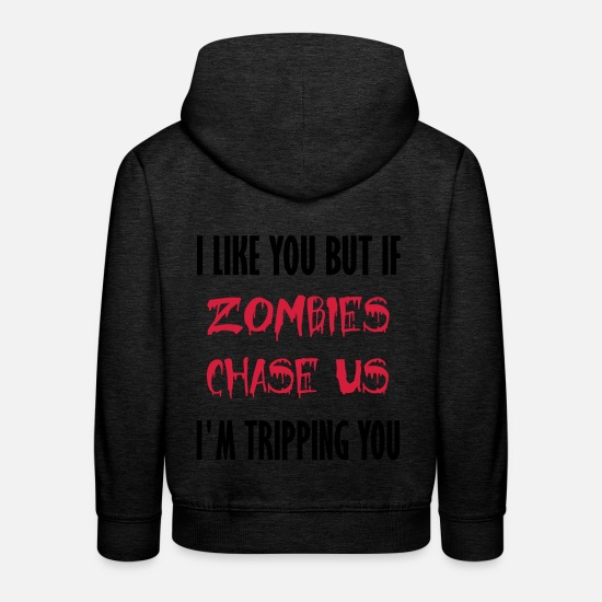Comic Hoodies & Sweatshirts - zombies chase us - Kids' Premium Hoodie charcoal grey