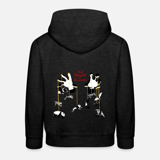 Liberation Hoodies & Sweatshirts - The Spirit of Animals - The Spirit of Animals - Kids' Premium Hoodie charcoal grey